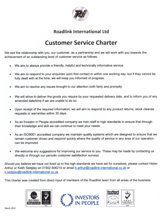 Roadlink Customer Charter